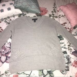 Rue21 Gray Distressed Knit Sweater